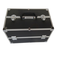 Professional aluminum makeup train case with tray and strap