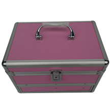 Beauty makeup brush storage train case with drawer