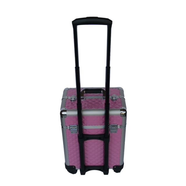 High quality rolling aluminium makeup cases with wheels